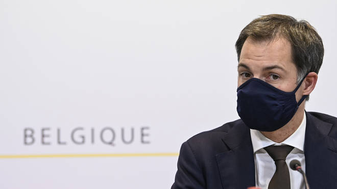 Belgian Prime Minister Alexander De Croo in a mask