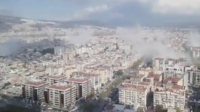 Social media footage captured the aftermath of the quake in Izmir