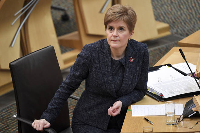 Nicola Sturgeon during the First Minister's Questions session at the Scottish Parliament