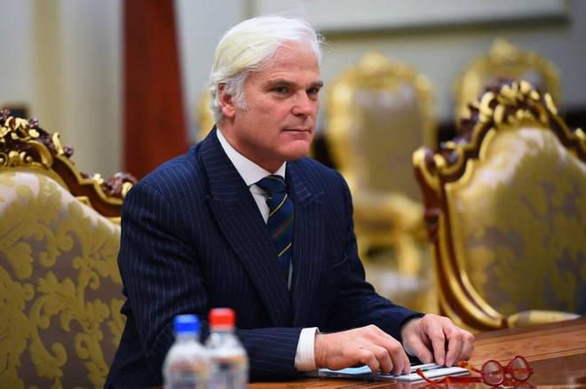 British Minister of State for International Development Desmond Swayne in Tajikistan
