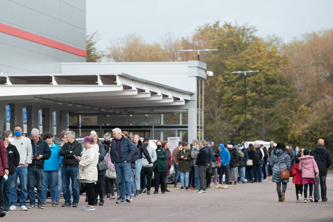 There was a large queue outside a Costco in Leicester on Sunday