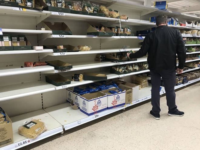 Some Tesco stores had low supplies on Sunday as panic buyers returned