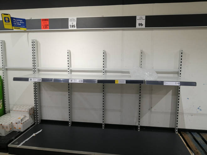 Shelves have been emptied in supermarkets across England ahead of a second national lockdown