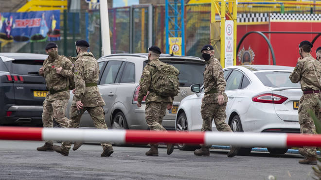 Soldiers at Pontin's in Southport where they will be staying ahead of the start of mass Covid-19 testing in Liverpool