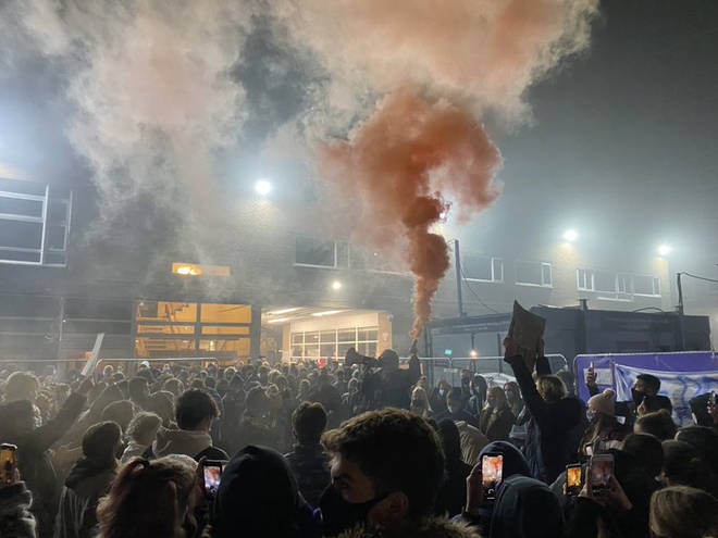 Students gathered in protest at Manchester Uni tonight