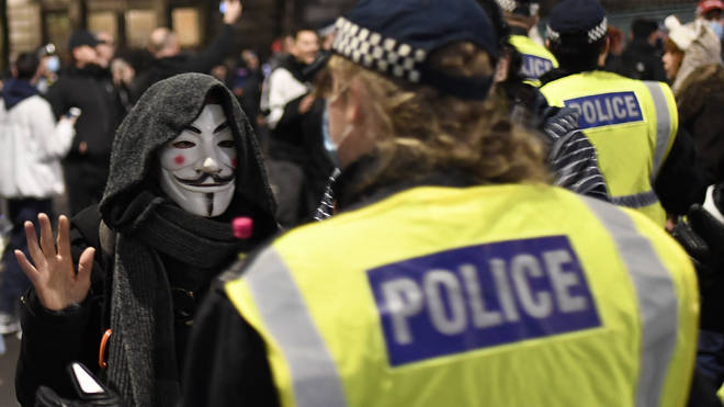 Hundreds of people marched in central London