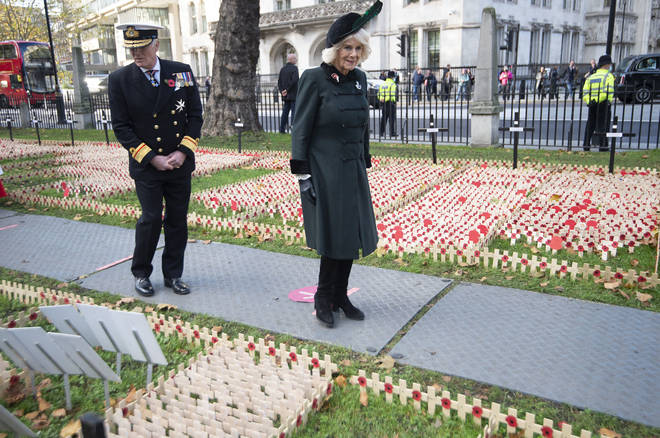Britain's Camilla, the Duchess of Cornwall, patron of The Poppy Factory, visits the Field of Remembrance