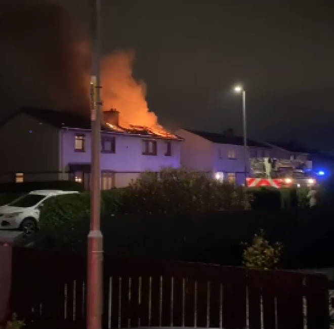 Video on social media showed huge orange flames and thick smoke