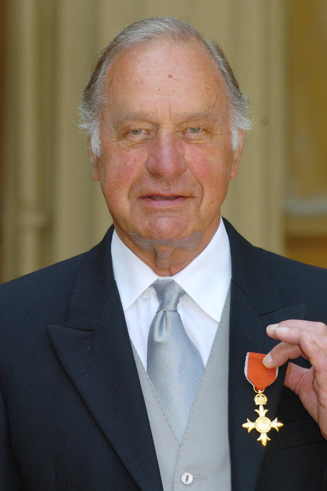 Actor Geoffrey Palmer celebrates becoming an OBE