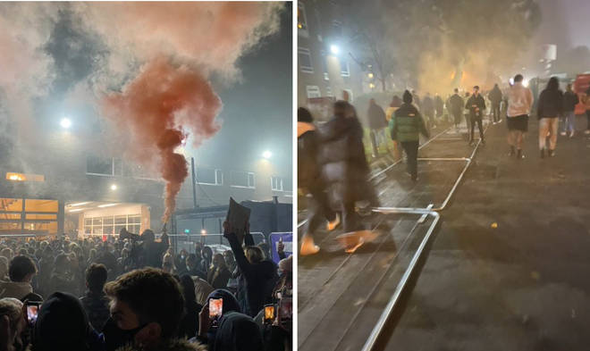 Protests erupted at Manchester University on Thursday night