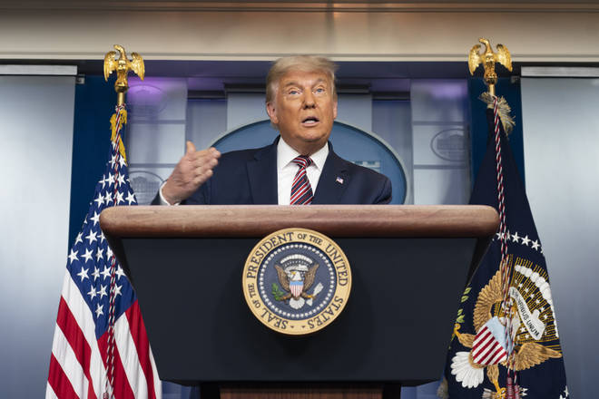 United States President Donald J. Trump makes remarks on the election results and continuing vote counts