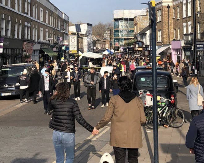 People turned up to Broadway Market in large numbers, despite lockdown