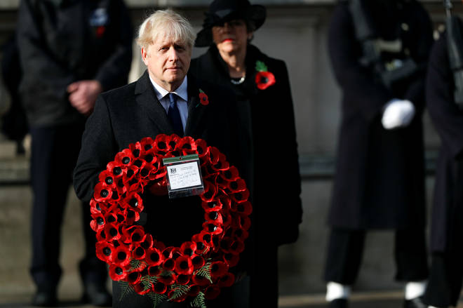 Prime Minister Boris Johnson laid a poppy wreath at the Cenotaph in Westminster.