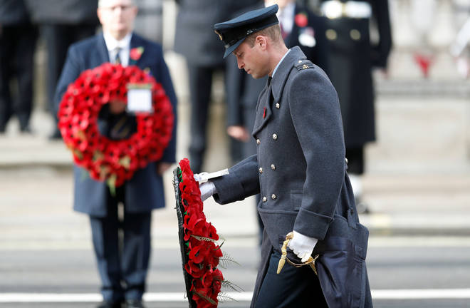 Prince of Wales lay a wreath at the Cenotaph on behalf of the Queen.