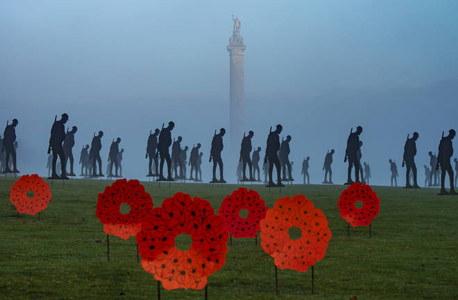 200 life-size Armistice Day soldier silhouette figures and 75 poppy wreaths are on display in memory of The Unknown Soldier for The Royal British Legion.
