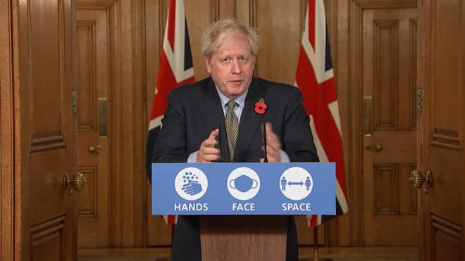 Boris Johnson was speaking at a Downing Street press conference