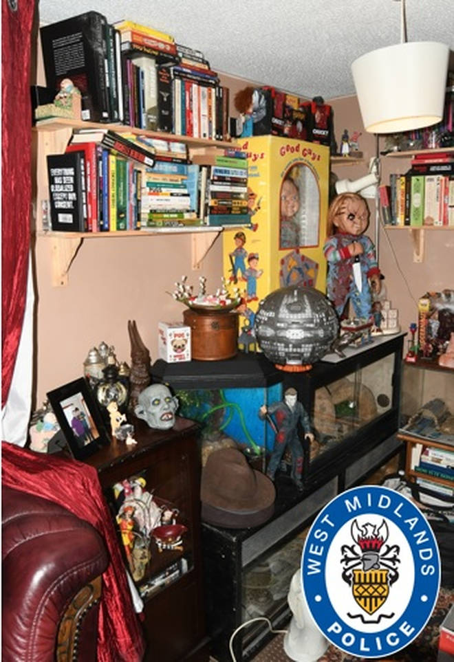 A workbench, tools and doll's heads found at the home of Nathan Maynard-Ellis in Tipton