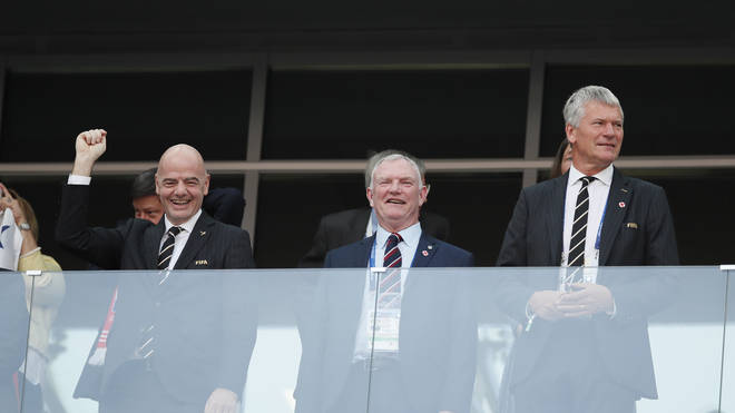 FIFA president Gianni Infantino, Greg Clarke and Martin Edwards during the FIFA World Cup 2018