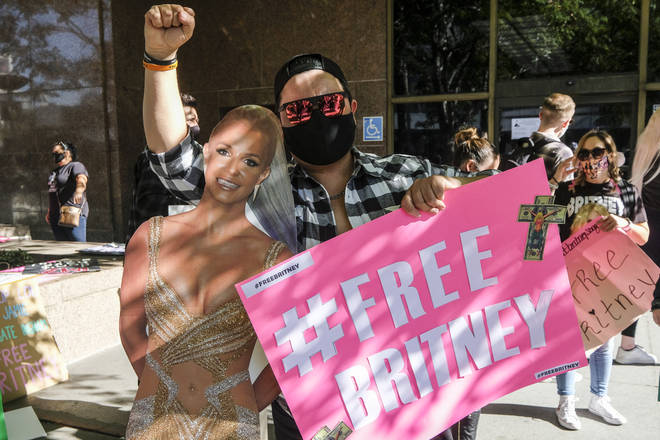 Fans of Britney Spears protested outside the Los Angeles court on Tuesday