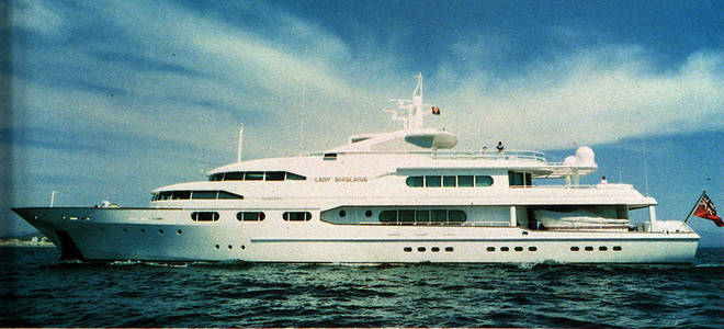 Robert Maxwell's luxury yacht, the Lady Ghislaine. Multi-millionaire Maxwell probably plunged to his death from the yacht