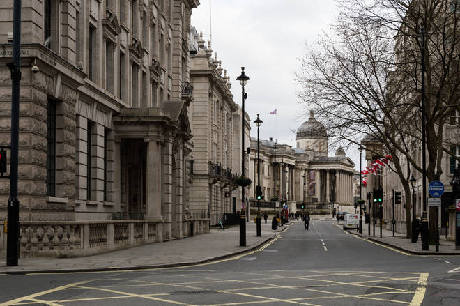 File photo: A view of almost deserted Pall Mall East in central London