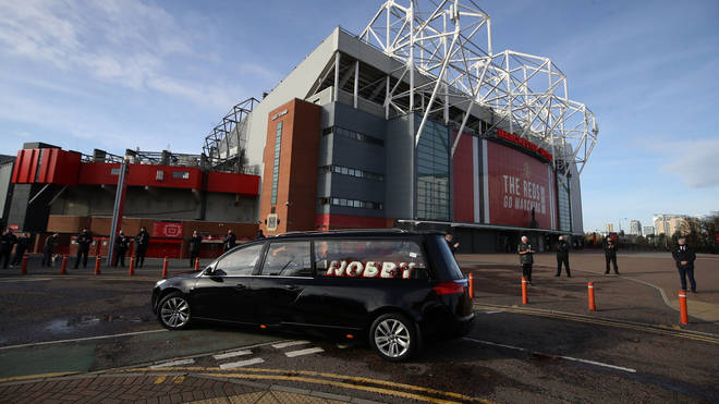 The hearse paused shortly outside Old Trafford football ground