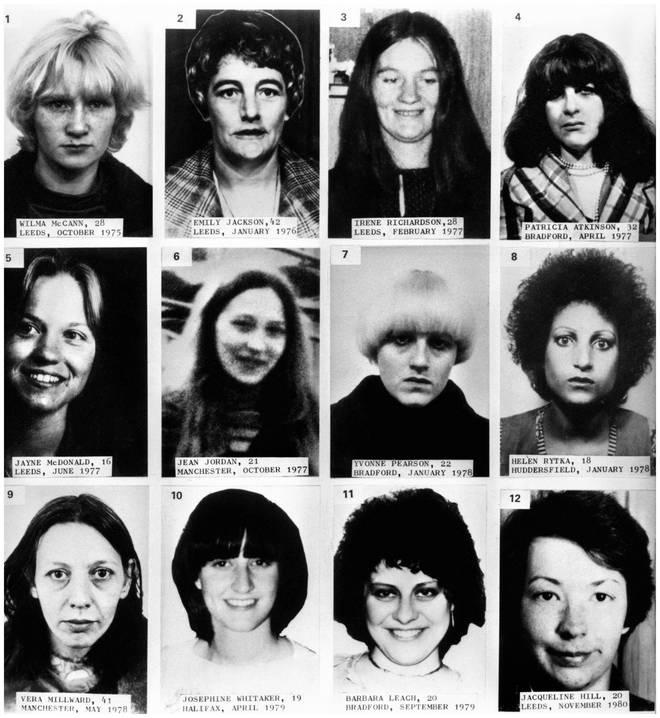 12 of the 13 of Sutcliffe's victims . Wilma McCann, Emily Jackson, Irene Richardson, Patricia Atkinson, Jayne McDonald, Jean Jordan, Yvonne Pearson, Helen Rytka, Vera Millward, Josephine Whitaker, Barbara Leach, Jacqueline Hill.