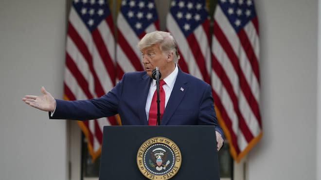President Trump spoke in the White House rose garden