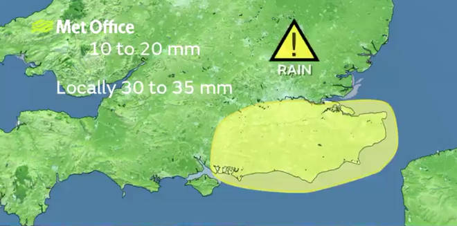 Parts of London and the South East have been issued with a yellow weather warning