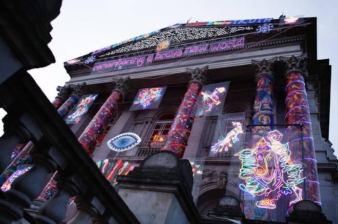 A Diwali art piece by Chila Kumari Singh Burman has been installed outside the Tate Britain gallery