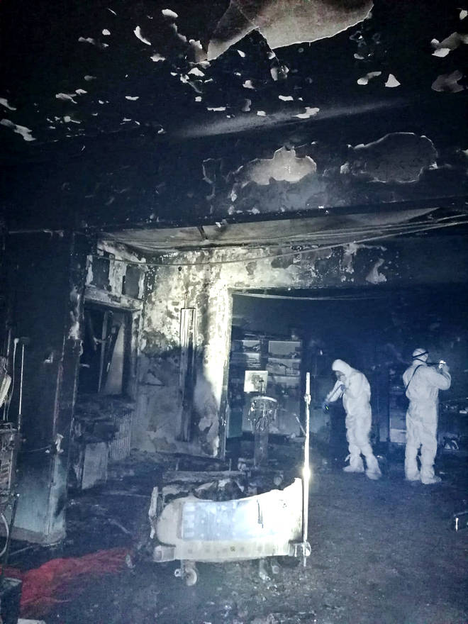 Pictures show burnt out hospital rooms following the blaze