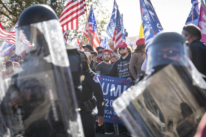 There was a heavy police presence at the pro-Trump march to avoid any clashes