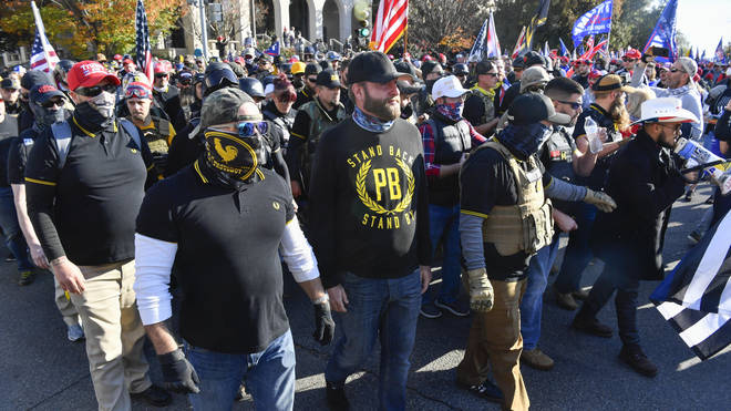 Members of neo-fascist group the Proud Boys attended the rally
