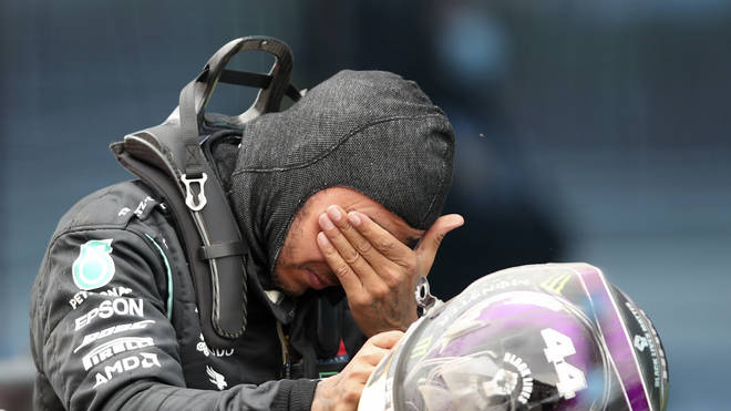 The British racing driver was visually emotional after clinching the chequered flag on Sunday