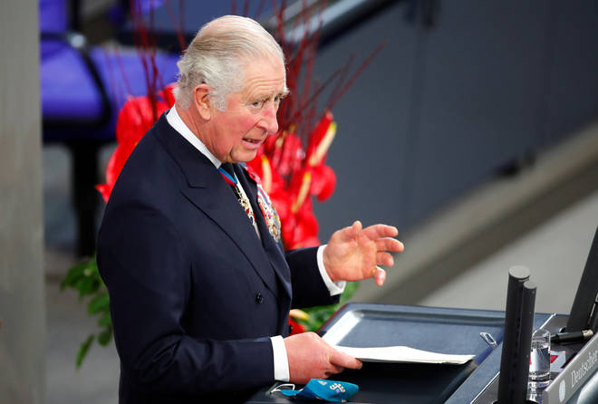 Prince Charles delivered a speech to the German parliament on Sunday