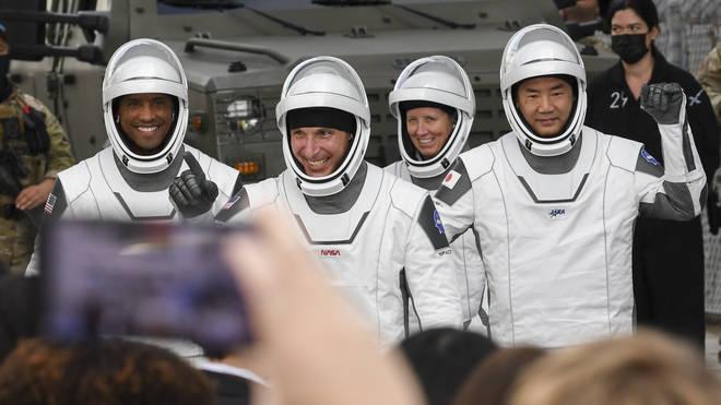 (Left to right) Astronauts Victor Glover, Michael Hopkins, Shannon Walker and Soichi Noguchi