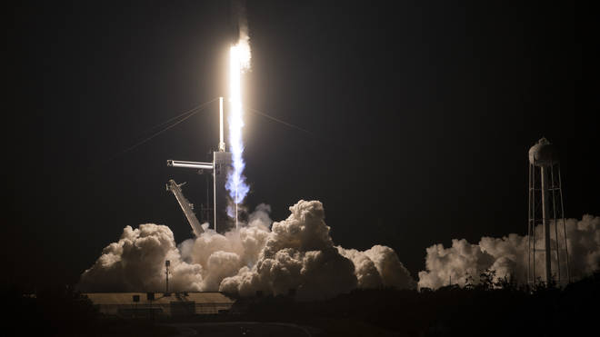 The Falcon rocket took off from the Kennedy Space Centre at 12.27am (UK time)