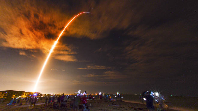 Spectators gathered in Florida to watch the SpaceX rocket launch