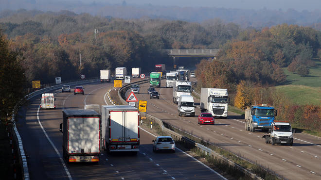 File photo: A view of the M20 motorway in Ashford, Kent