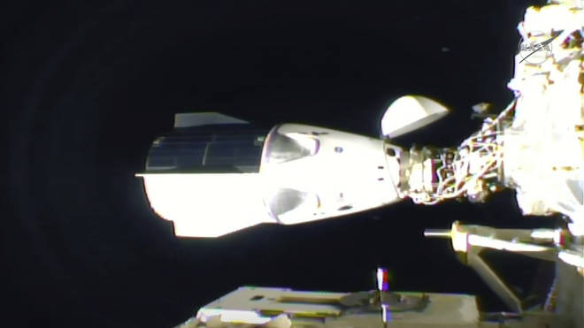 The SpaceX Dragon is seen after docking at the International Space Station