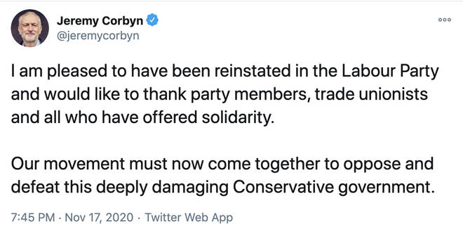 Jeremy Corbyn tweeted after he was reinstated