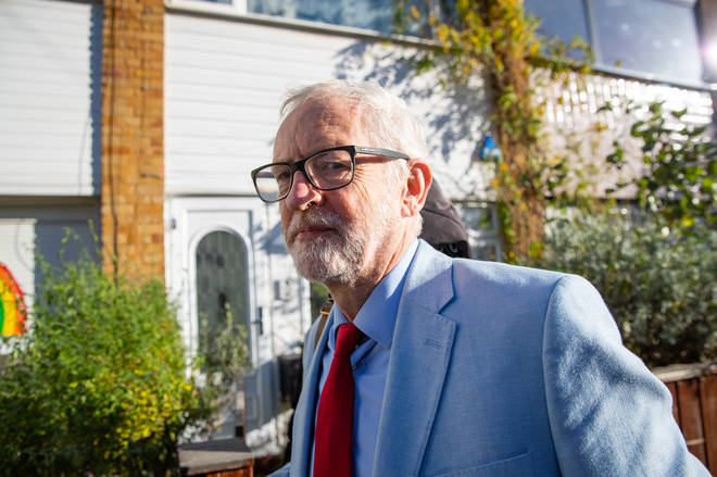 Jeremy Corbyn pictured outside his home earlier today