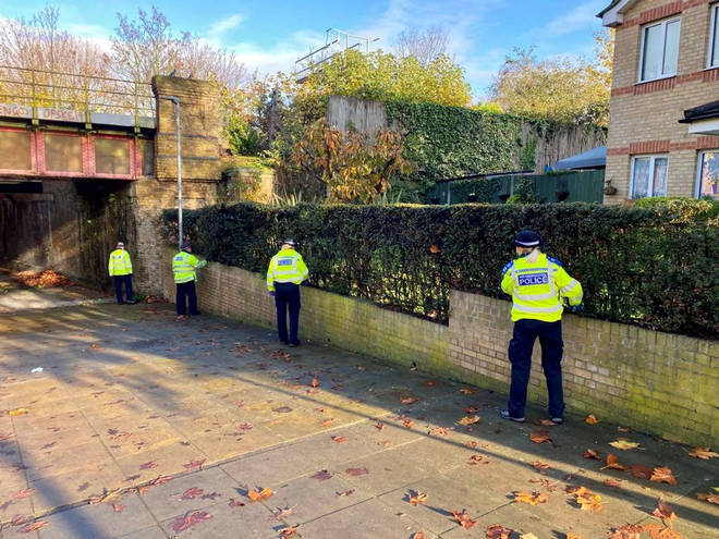 Officers during a weapons sweep