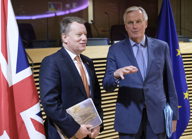 The UK's David Frost (left) and EU's Michel Barnier (right) have agreed to temporarily halt Brexit talks