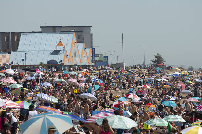 Beaches were packed across England as temperatures soared in summer