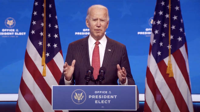 United States President-elect Joe Biden makes remarks following his virtual meeting with the National Governors Association's Executive Committee