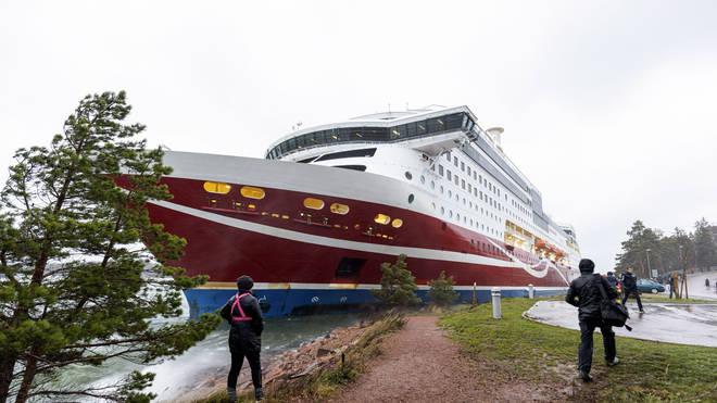 Cruise ship Viking Grace, run aground with passengers on board, south of Mariehamn, Finland
