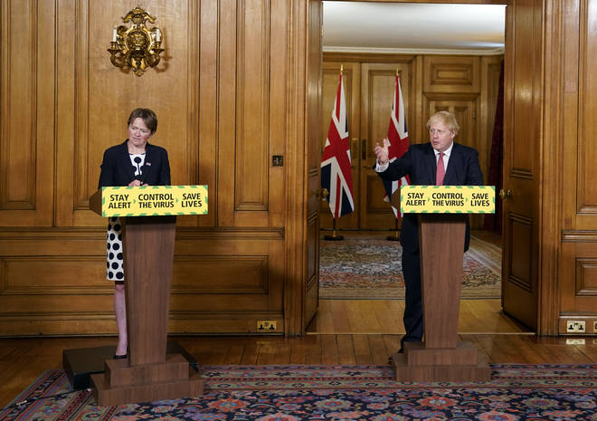 File photo: Baroness Dido Harding, executive chairwoman of NHS Test and Trace and Prime Minister Boris Johnson