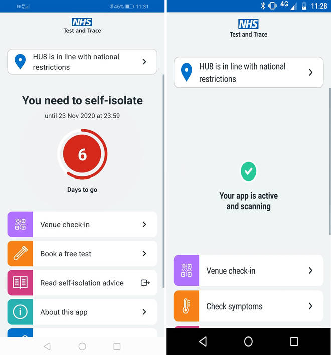 The England NHS contact tracing app
