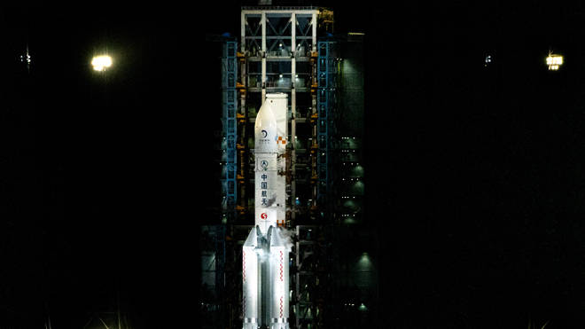 Four modules of the Chang'e 5 spacecraft blasted off on top of a massive Long March-5Y rocket